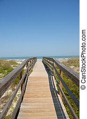 strandpromenad, till, den, strand