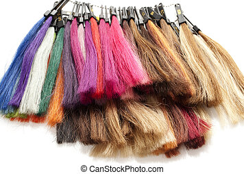 strands of hair color on a white background