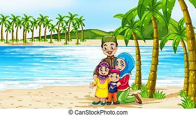 strandscène, leden, gezin