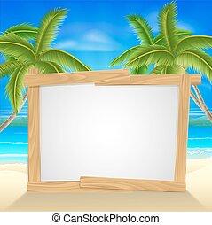 strandvakantie, palmboom, meldingsbord