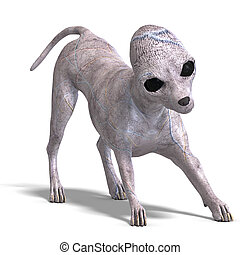 strange alien dog from area 51. 3D rendering with clipping...