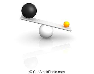 Strange balance. 3d rendered illustration.