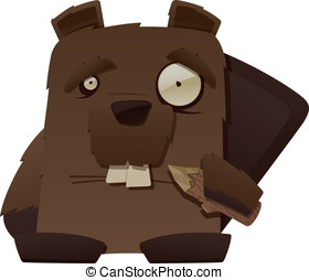 Strange Beaver - This is a vector cartoon of a strange...