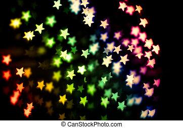 strange bokeh - defocused lights. The star shape of lights...
