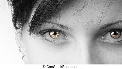strange eyes - black and white close up of fair eyes