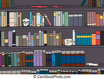 Strange Library Bookshelf - Cartoon of strange library of...