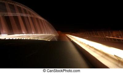 strange light pattern from a bridge at night in valencia,...