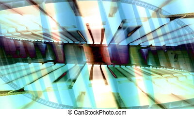 strange light pattern from a bridge at night in valencia, spain