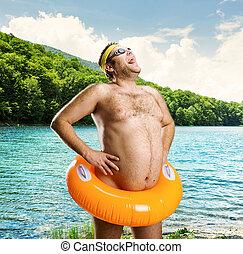 Strange man on the lake
