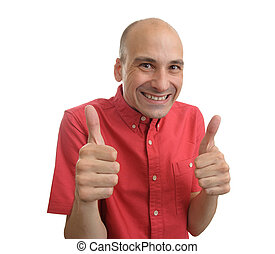 strange man showing his thumbs up
