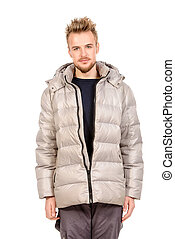 strange man - Young man in a winter jacket. Isolated over...