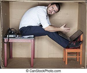 strange position to work, surprised businessman