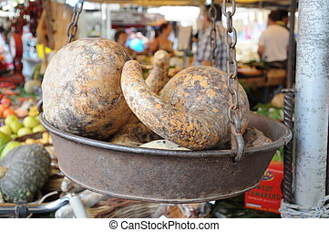 vegetable on a weight scale