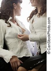 Strange relashionship - Homosexual couple of girls flirting