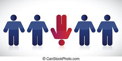 strange row of people. illustration design over a white background