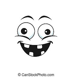 Strange emoji with broad smile, crazy idiot emoticon isolated icon. Vector strange cheerful person social network emoji. Stupid emoji with rare tooth, emoticon with silly eyes, stupid face expression