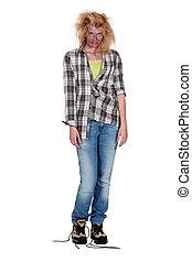 strange woman with disheveled hair