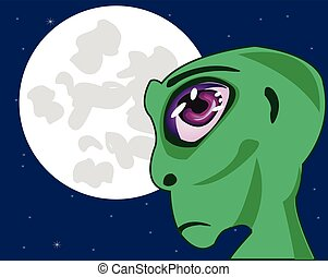 Stranger on background of the moon