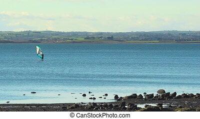 strangford, lough, irland, landschaftsbild, mit, meer,...
