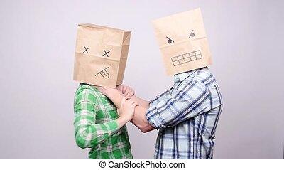 Strangulation of women. Domestic Violence in paper bag