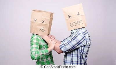 Strangulation of women. Domestic Violence in paper bag