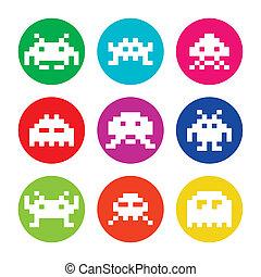 stranieri, invaders, spazio, 8bit, icone