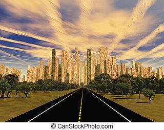 straniero, città, cielo, strada, sotto