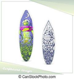 straniero, disegno, surfboard