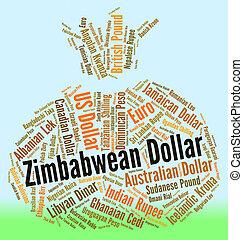 straniero, indica, moneta, dollaro, valuta, zimbabwean