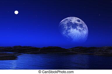 straniero, paesaggio, con, luna