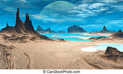 straniero, planet., illustrazione, pietre, lake., fantasia, 3d