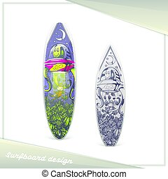 straniero, surfboard, disegno
