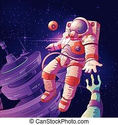 straniero, vettore, astronauta, contatto, spazio