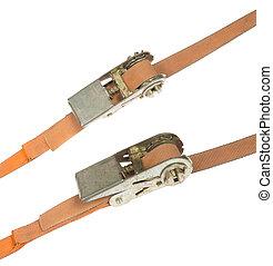 Orange straps, isolated on background