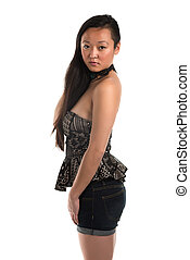 Strapless blouse - Pretty Korean woman in a strapless blouse