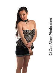 Strapless blouse - Pretty Korean woman in a strapless blouse