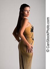 Strapless gown - Beautiful slender Ukrainian woman in a...