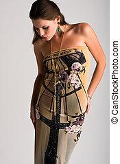 Strapless gown - Beautiful slender Ukrainian woman in a...