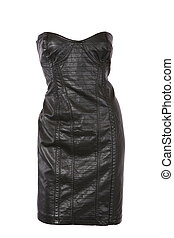 Strapless leather dress isolated on white