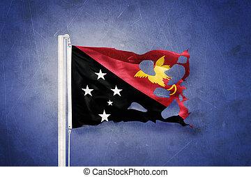 strappato, bandiera, di, papua nuova guinea, volare, contro, grunge, fondo