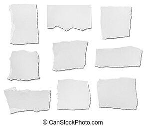 strappato, bianco, carta, messaggio, fondo