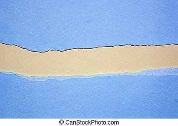 strappato, blu, carta, con, spazio, per, testo