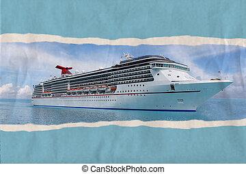 strappato, carta, tropicale, nave