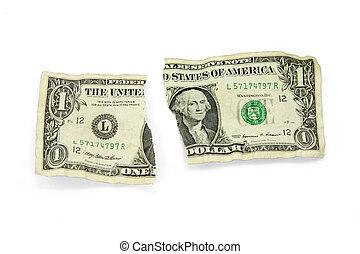 strappato, dollaro, stati uniti
