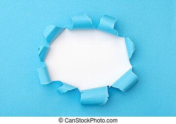 strappato, mezzo, sfondo blu, buco, carta