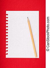 strappato, pagina rigata, quaderno, vuoto