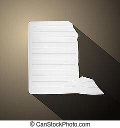 strappato, strappato, carta, foglio, vuoto