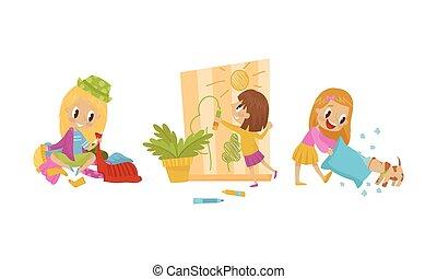 strappo, ragazza, parete, cuscino, cane, vettore, illustrazione, birichino, set, disegno, carta