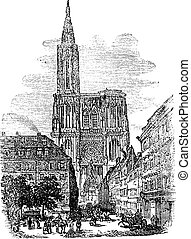 Strasbourg Cathedral or Cathedral of Our Lady of Strasbourg in Strasbourg France vintage engraving
