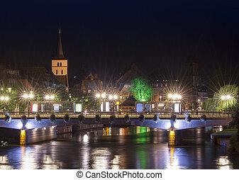 Strasbourg city at night. Alsace, France